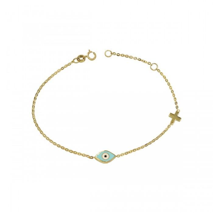 Βραχιόλι μάτι και σταυρουδάκι χρυσό 14Κ - BR1109