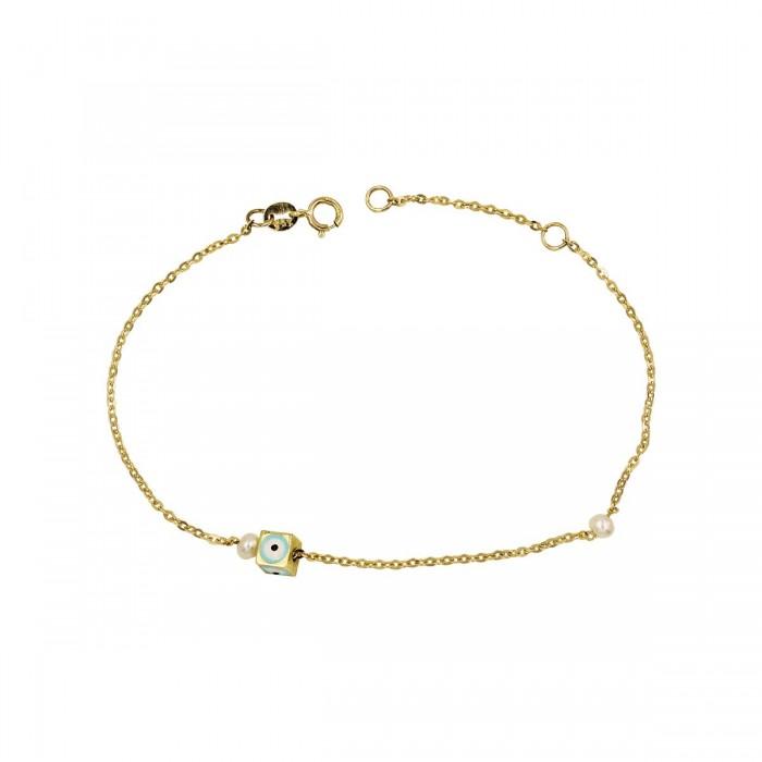 Βραχιόλι μάτι κύβος χρυσό 14Κ - BR1115