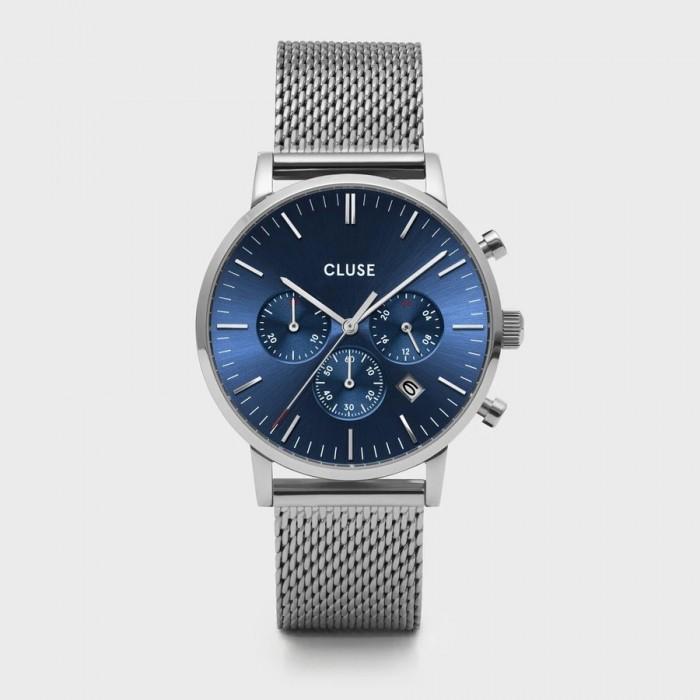 CLUSE Aravis chrono mesh silver dark blue/silver - CW0101502004