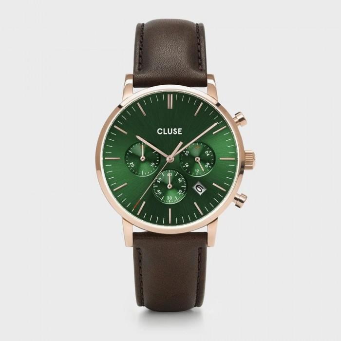 CLUSE Aravis chrono leather rose gold green/dark brown - CW0101502006