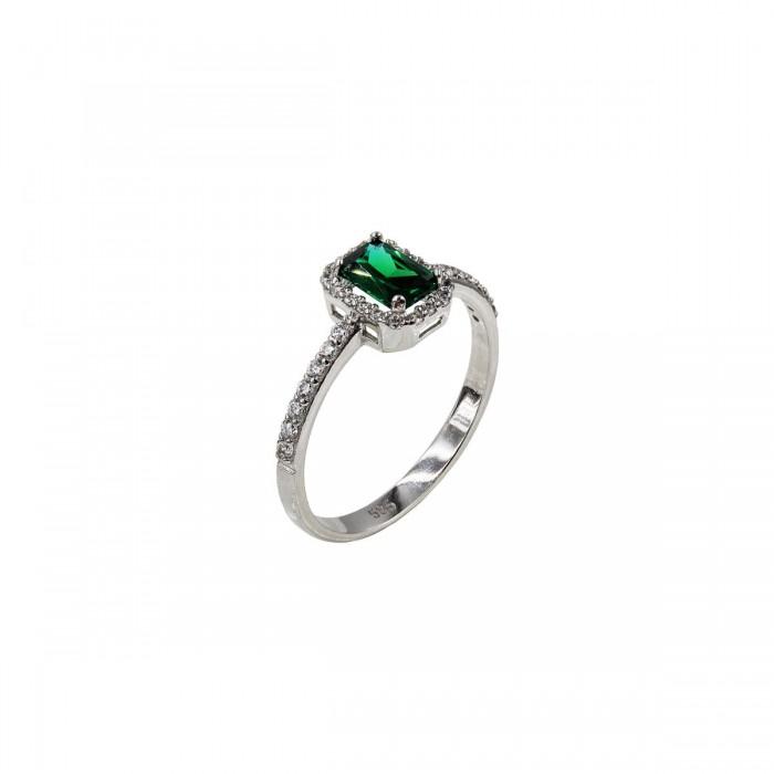Δαχτυλίδι λευκόχρυσο με ζιργκόν πέτρες 14Κ - D1078