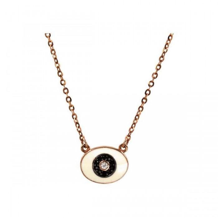 Κολιέ μάτι ροζ χρυσό 14Κ - K1010