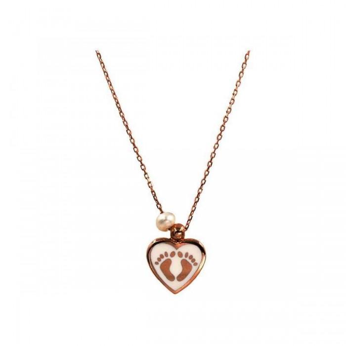 Κολιέ πατουσάκια - καρδιά ροζ χρυσό 14Κ - K1024