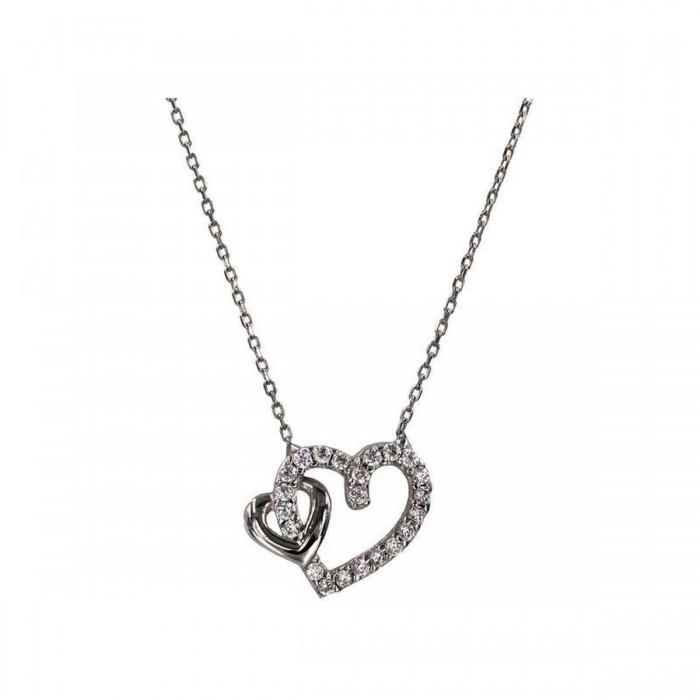 Κολιέ καρδιές λευκόχρυσο 14Κ - K1063