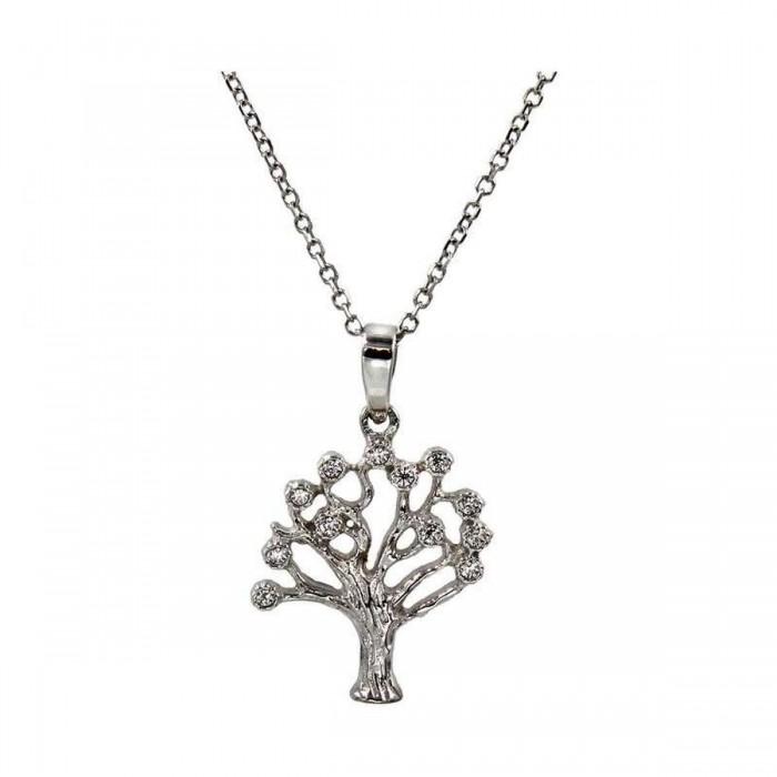 Κολιέ δέντρο ζωής λευκόχρυσο 14Κ - K1068
