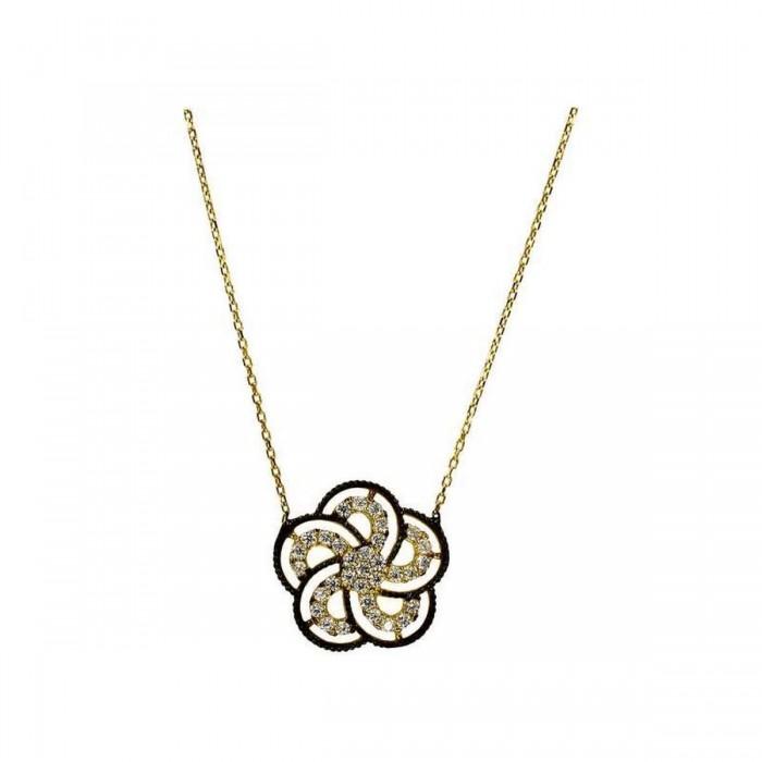 Κολιέ λουλούδι χρυσό 14Κ - K1096