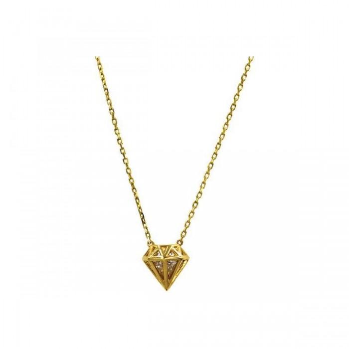 Κολιέ διαμάντι χρυσό 14Κ - K1139