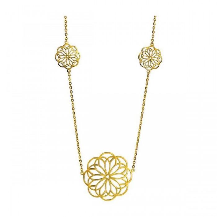 Κολιέ λουλούδια χρυσό 14Κ - K1163