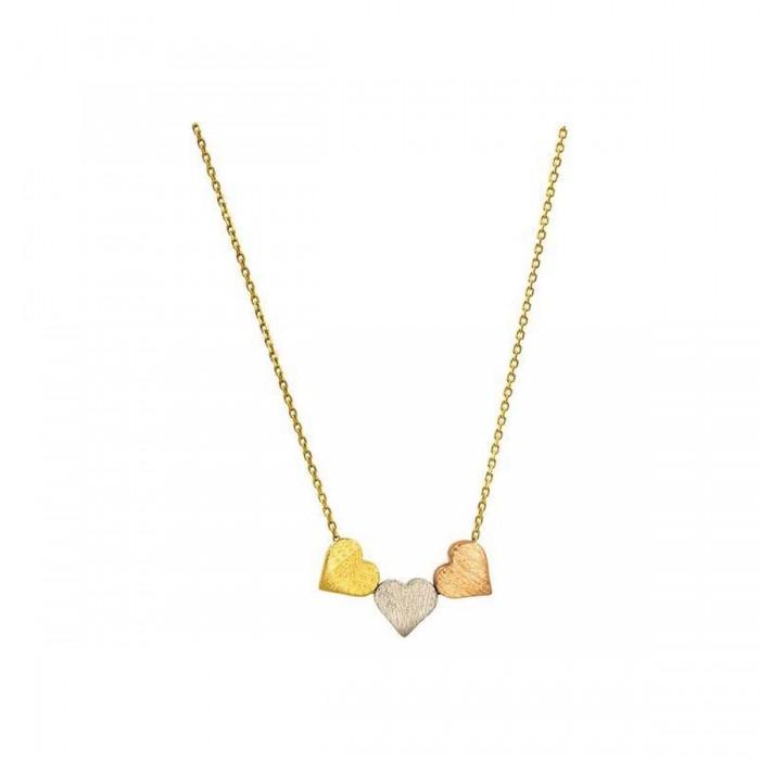 Κολιέ καρδιές χρυσό 14Κ - K1189