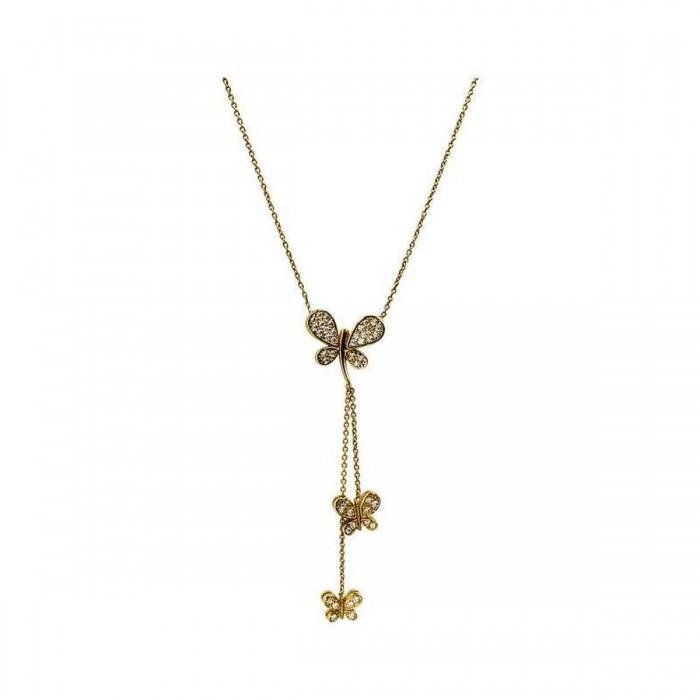 Κολιέ πεταλούδες χρυσό 14Κ - K1229