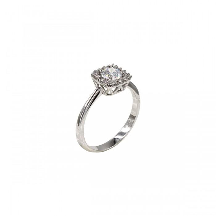 Μονόπετρο δαχτυλίδι λευκόχρυσο 14Κ - MD1067