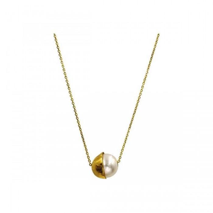 Κολιέ χρυσό 14Κ με μαργαριτάρι - MRK1003