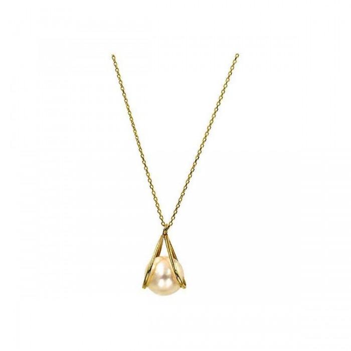Κολιέ χρυσό 14Κ με μαργαριτάρι - MRK1006