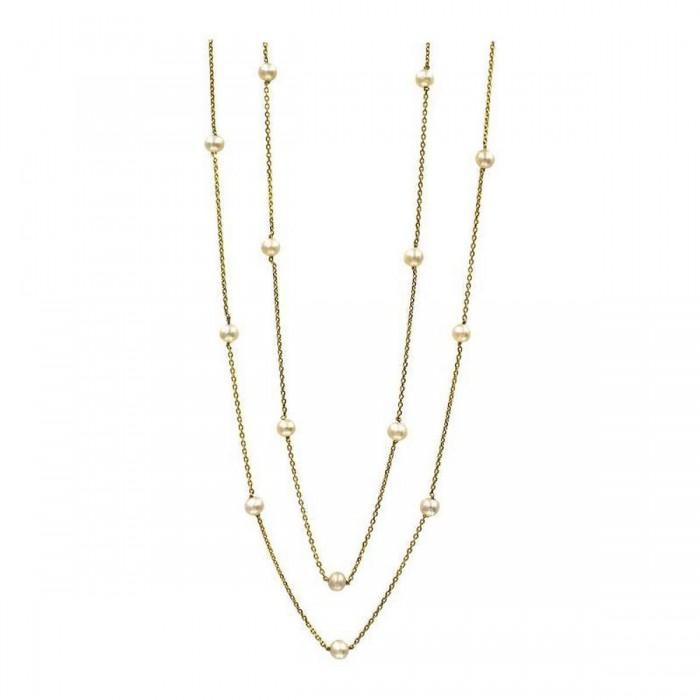 Κολιέ διπλό χρυσό 14Κ με μαργαριτάρια - MRK1008