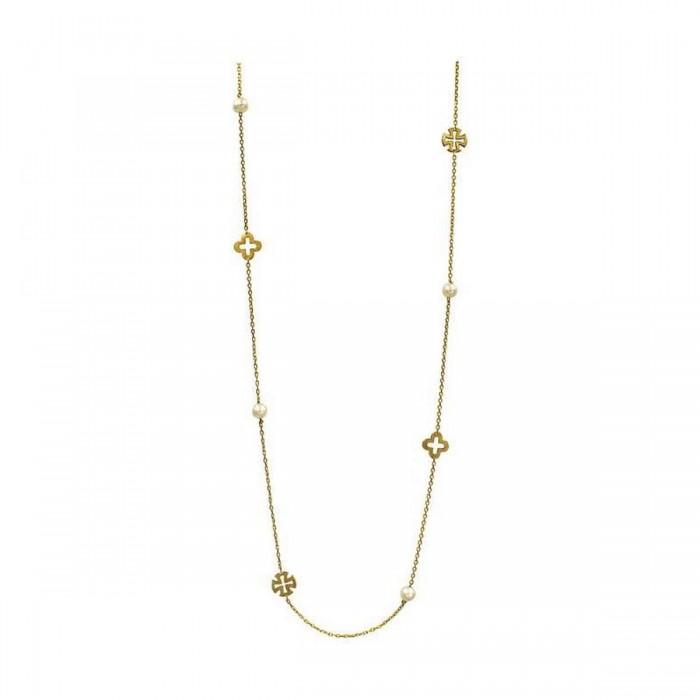 Κολιέ χρυσό 14Κ με μαργαριτάρια - MRK1009