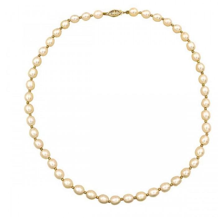 Μαργαριταρένιο κολιέ με χρυσό κούμπωμα 14Κ - MRK1021