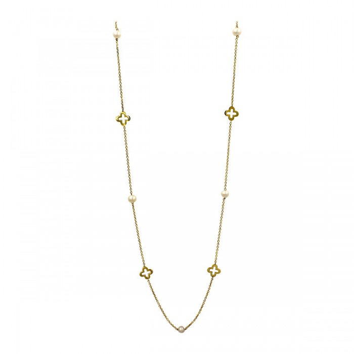 Κολιέ χρυσό 14Κ με μαργαριτάρια - MRK1031