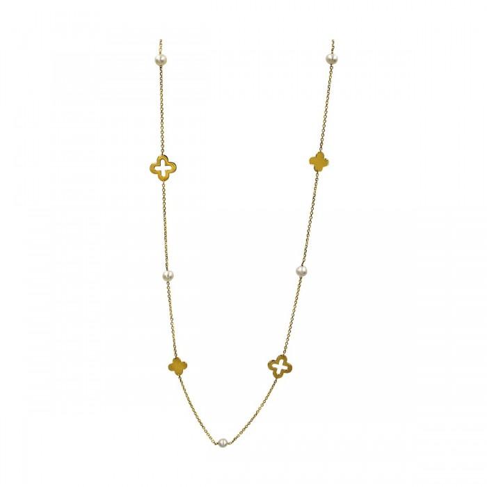 Κολιέ χρυσό 14Κ με μαργαριτάρια - MRK1032