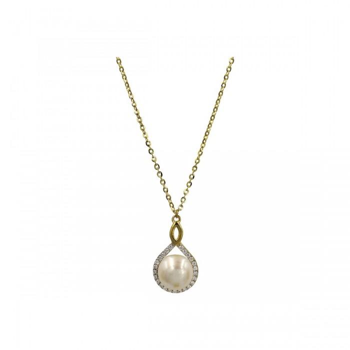 Κολιέ δάκρυ χρυσό 14Κ με μαργαριτάρι - MRK1033