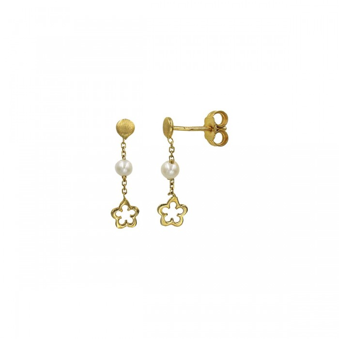 Σκουλαρίκια κρεμαστά χρυσά 14Κ με μαργαριτάρια - MRS1009