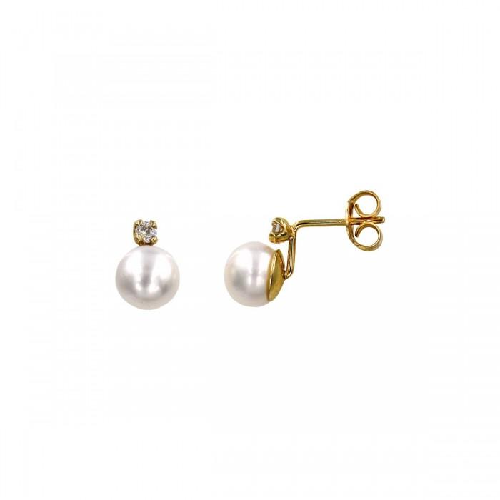 Σκουλαρίκια χρυσά 14Κ με μαργαριτάρι & ζιργκόν - MRS1015