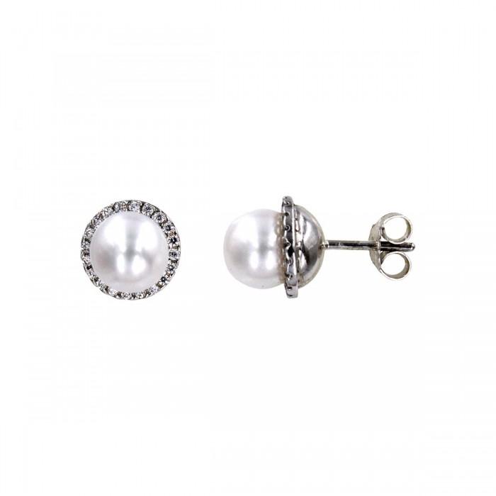 Σκουλαρίκια λευκόχρυσα 14Κ με μαργαριτάρι & ζιργκόν - MRS1016