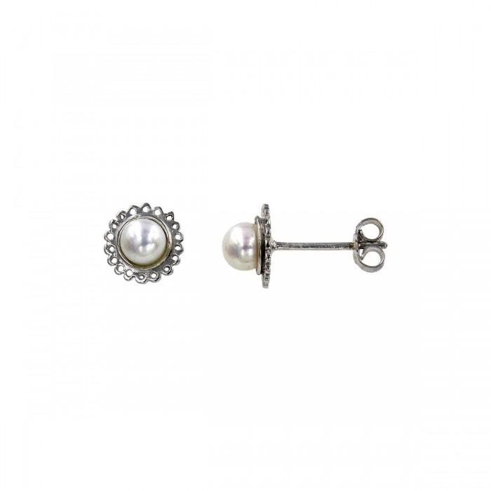 Σκουλαρίκια λευκόχρυσα 14Κ με μαργαριτάρι - MRS1020