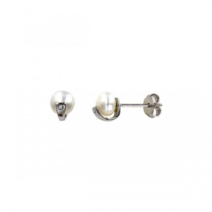 Σκουλαρίκια λευκόχρυσα 14Κ με μαργαριτάρι - MRS1021