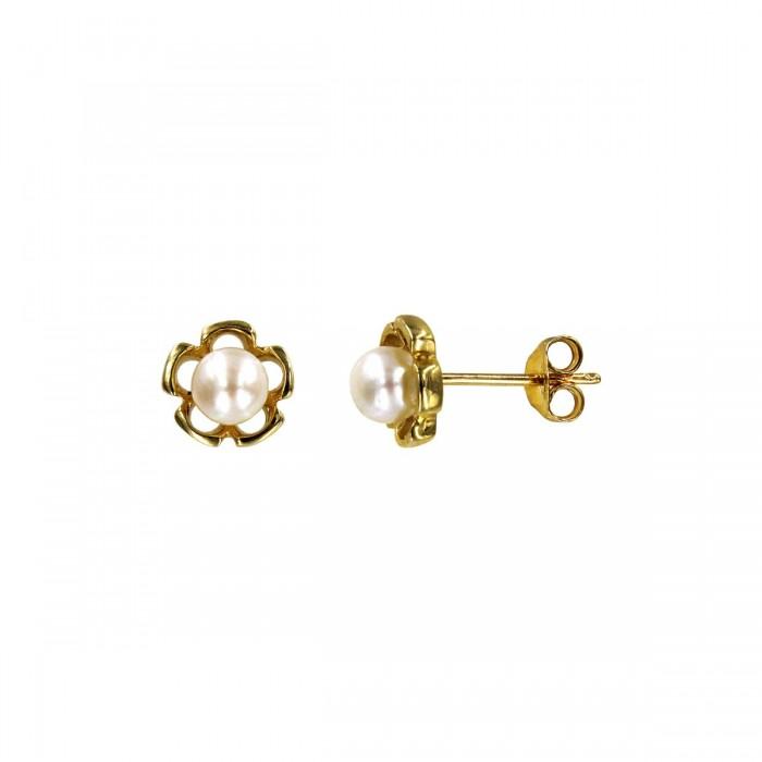 Σκουλαρίκια χρυσά 14Κ με μαργαριτάρι - MRS1023