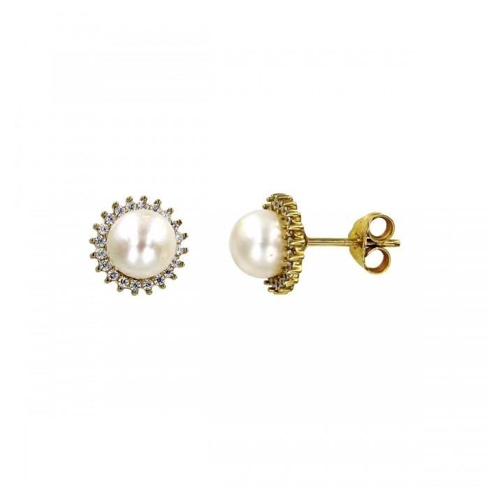 Σκουλαρίκια χρυσά 14Κ με μαργαριτάρι & ζιργκόν - MRS1032
