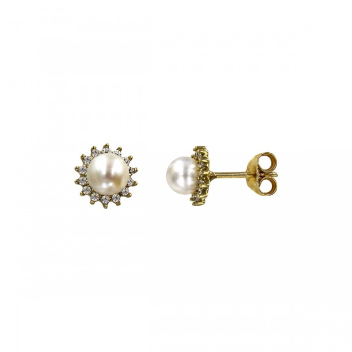 Σκουλαρίκια χρυσά 14Κ με μαργαριτάρι & ζιργκόν - MRS1033