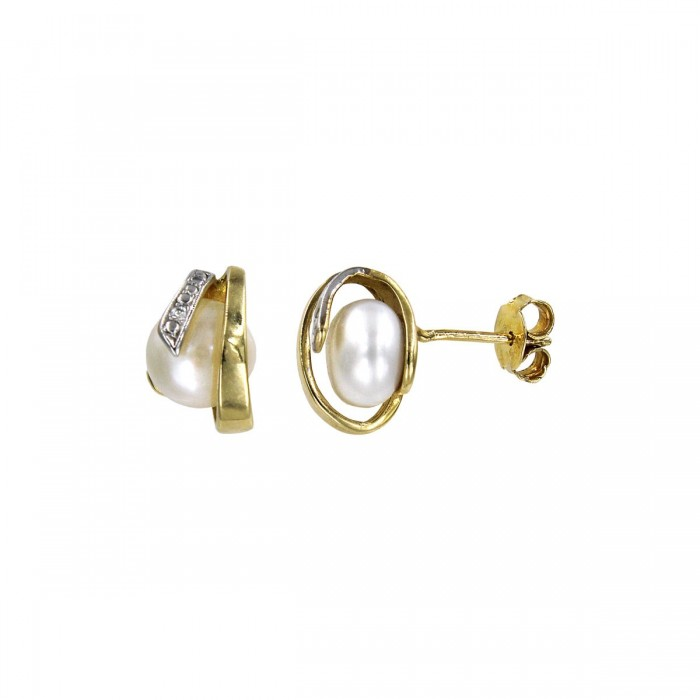 Σκουλαρίκια χρυσά 14Κ με μαργαριτάρι & ζιργκόν - MRS1034