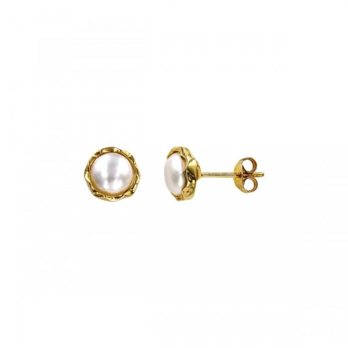 Σκουλαρίκια χρυσά 14Κ με μαργαριτάρι - MRS1035