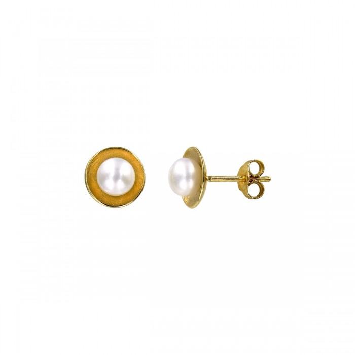 Σκουλαρίκια χρυσά 14Κ με μαργαριτάρι - MRS1036