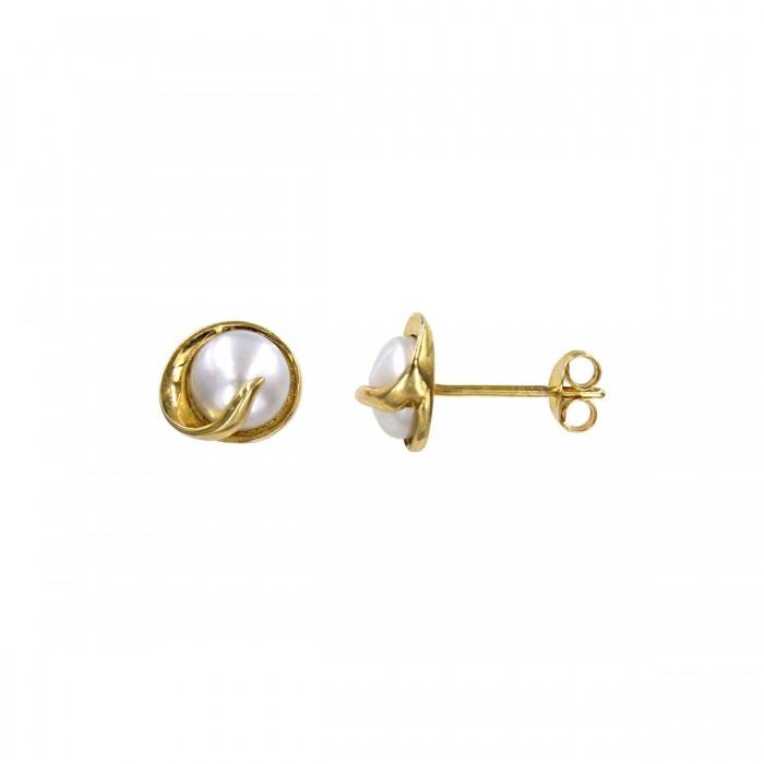 Σκουλαρίκια χρυσά 14Κ με μαργαριτάρι - MRS1041