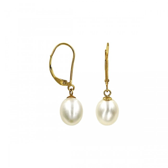Σκουλαρίκια κρεμαστά χρυσά 14Κ με μαργαριτάρι - MRS1045