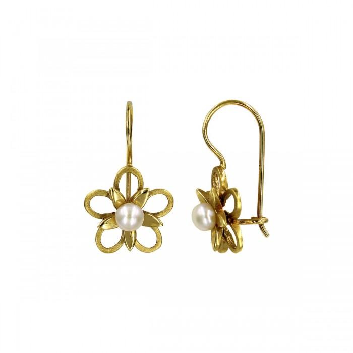 Σκουλαρίκια κρεμαστά χρυσά 14Κ με μαργαριτάρι - MRS1046