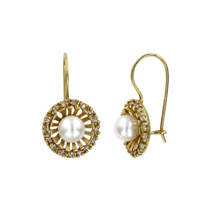 Σκουλαρίκια κρεμαστά χρυσά 14Κ με μαργαριτάρι & ζιργκόν - MRS1047
