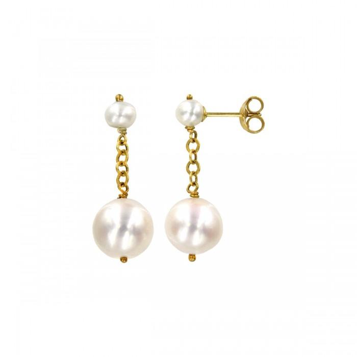 Σκουλαρίκια κρεμαστά χρυσά 14Κ με μαργαριτάρια - MRS1048