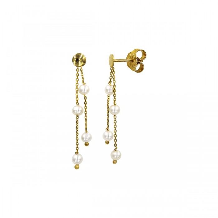 Σκουλαρίκια κρεμαστά χρυσά 14Κ με μαργαριτάρια - MRS1052