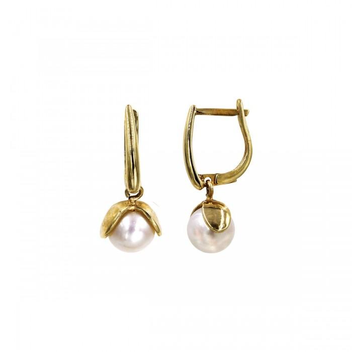 Σκουλαρίκια κρεμαστά χρυσά 14Κ με μαργαριτάρι - MRS1055