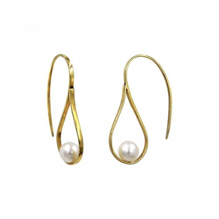 Σκουλαρίκια κρεμαστά χρυσά 14Κ με μαργαριτάρι - MRS1056