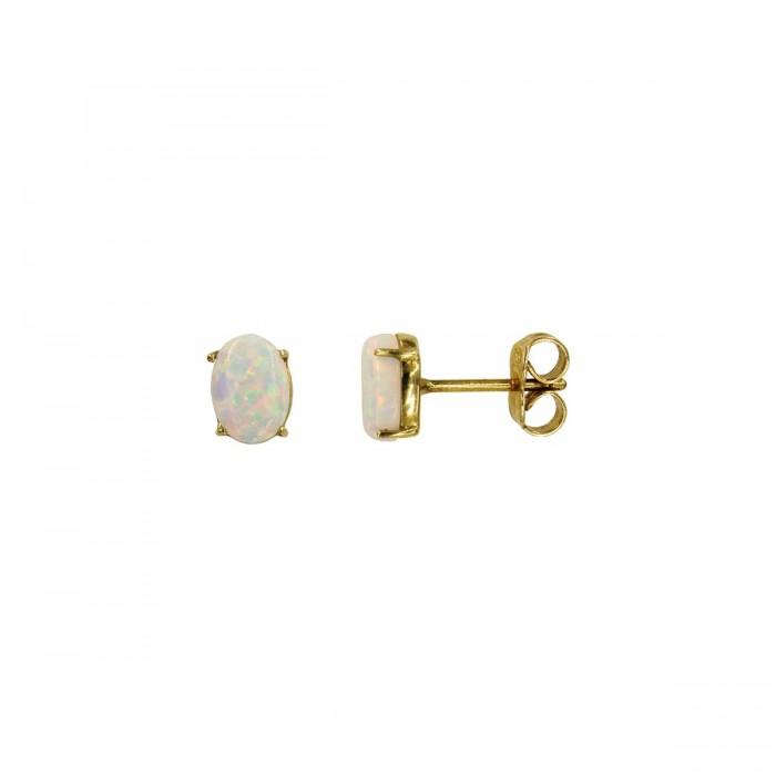 Σκουλαρίκια χρυσά 14Κ με οπάλ πέτρα - S1000