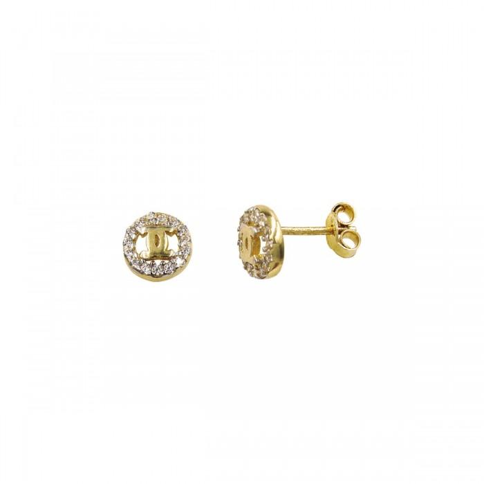 Σκουλαρίκια Coco Chanel χρυσά 14Κ με ζιργκόν πέτρες - S1003
