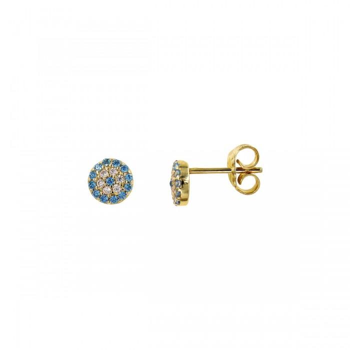 Σκουλαρίκια χρυσά 14Κ με ζιργκόν πέτρες - S1004
