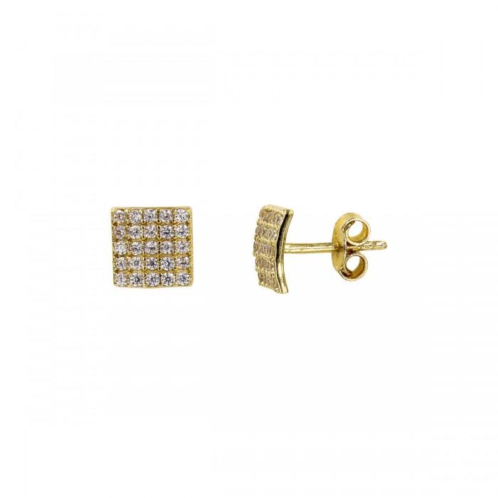 Σκουλαρίκια χρυσά 14Κ με ζιργκόν πέτρες - S1006