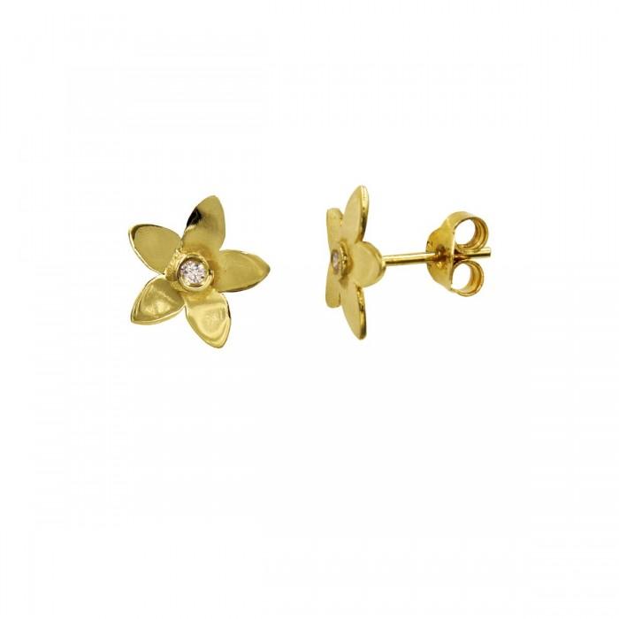 Σκουλαρίκια χρυσά 14Κ με ζιργκόν πέτρες - S1007