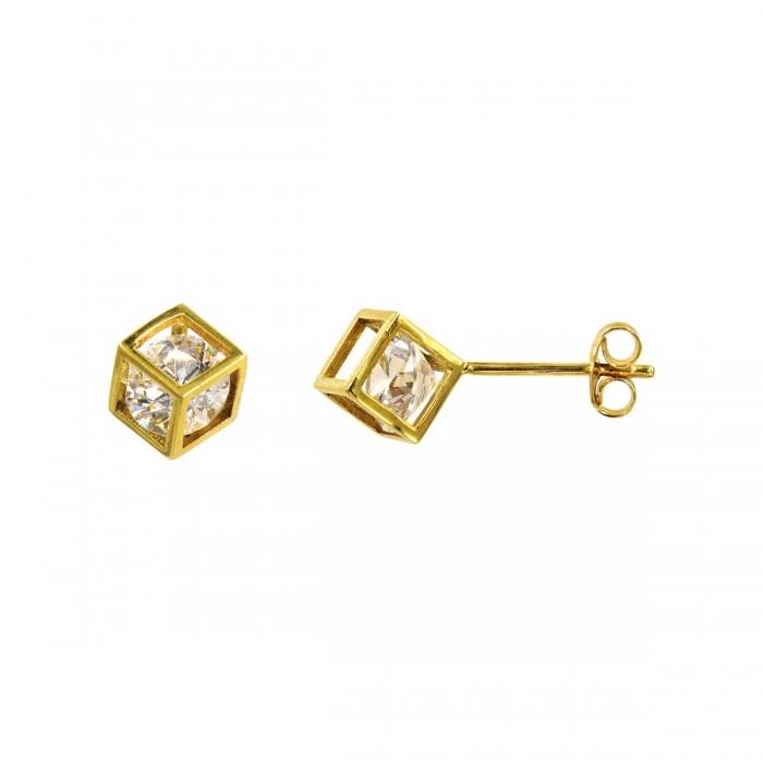 Σκουλαρίκια χρυσά 14Κ με ζιργκόν πέτρες - S1008