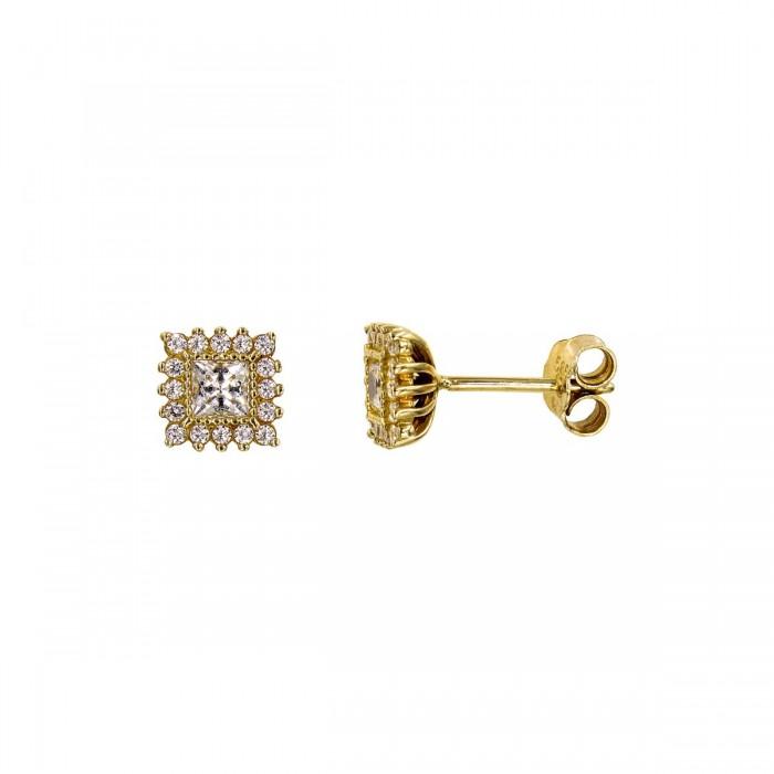 Σκουλαρίκια χρυσά 14Κ με ζιργκόν πέτρες - S1010