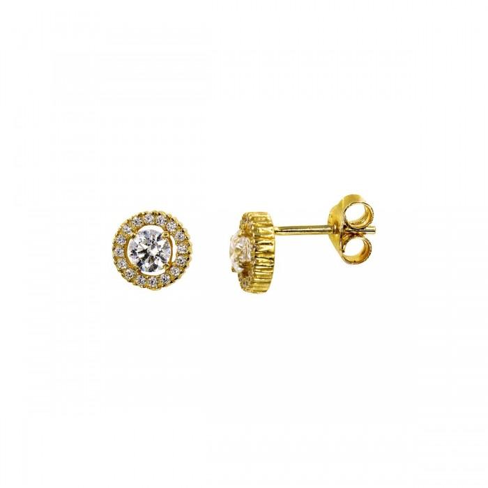 Σκουλαρίκια ροζέτα χρυσά 14Κ με ζιργκόν πέτρες - S1012